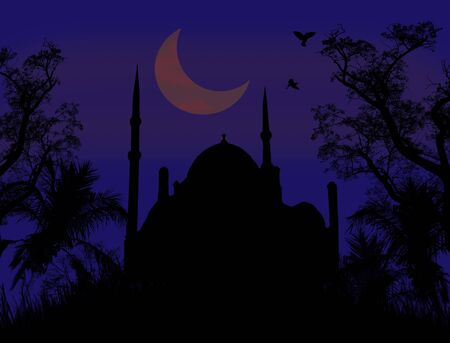 Mosque and Ramadan Moon on blue night Vector