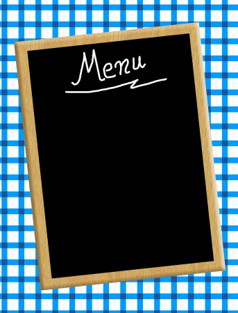 gingham: A menu card chalkboard on blue tablecloth background  Space for text