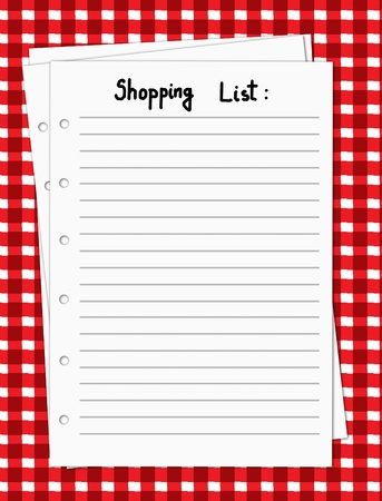 task list: Vector illustration of a blank shopping list on a red and white tablecloth, vector illustration