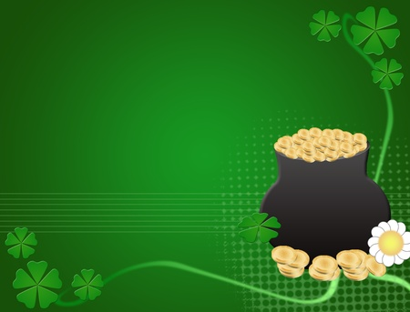 Abstract green background with golden coins pot, four leaf clovers and flower Vector