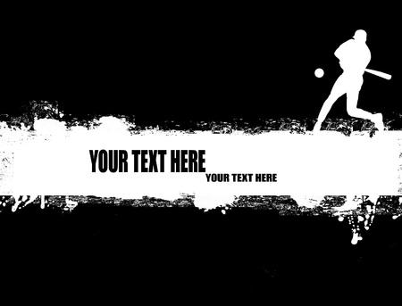 beisbol: grunge cartel de béisbol en blanco y negro, ilustración vectorial Vectores