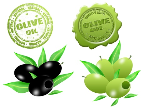 best quality: Black and green olives with grunge rubber stamp and sealing wax with text olive oil written inside Illustration