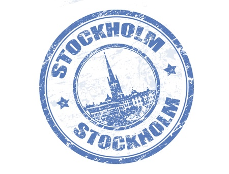 Grunge rubber stamp with Riddarholmen church shape and the name of Stockholm the capital of Sweden written inside