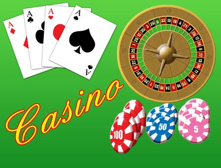 casino tokens: Vector illustration on a casino theme with playing cards, roulette and  chips