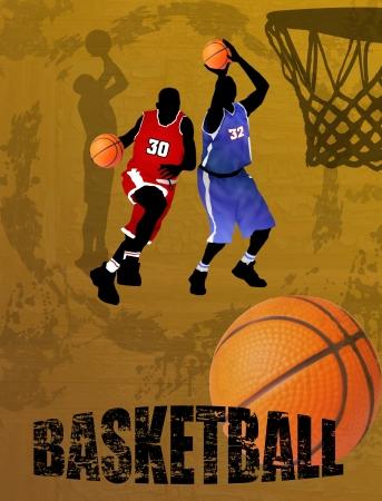 salto largo: Los jugadores de acción, ilustración vectorial del equipo de baloncesto en el fondo abstracto Vectores