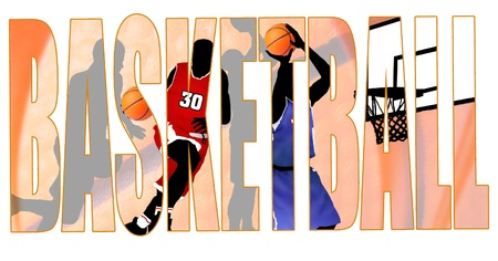 Basketball title with a players scene in the background, vector illustration Vector