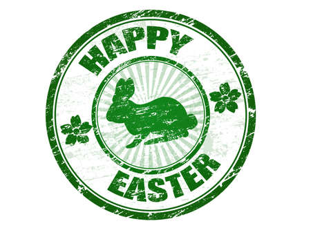 Green grunge rubber stamp with bunny silhouette and the text Happy Easter written inside the stamp Stock Vector - 13862369