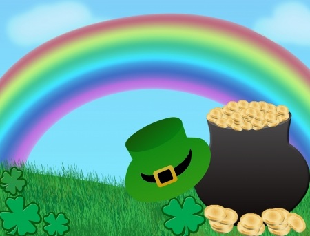 full day: St. Patricks day background with magic pot full of golden coins and green hat,vector illustration Illustration