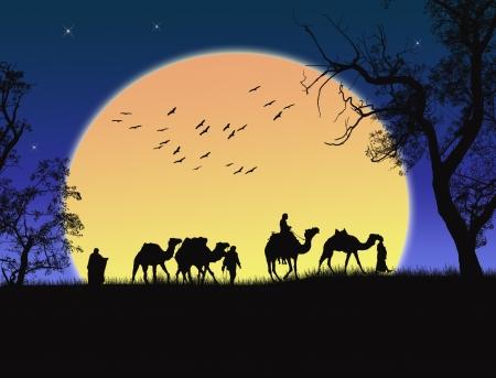 sahara desert: Sunset in the Sahara Desert with Bedouins and palms Illustration