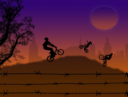 Bikers silhouette at sunset on beautiful landscape Stock Vector - 13862364
