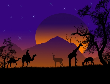 girafe: Safari - silhouettes of wild animals and bedouin with camels, vector background