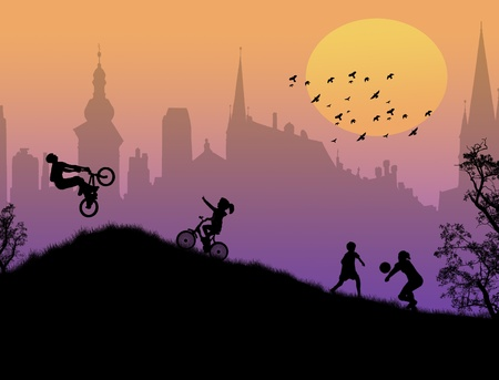 children playing in a city park,vector illustration Vector