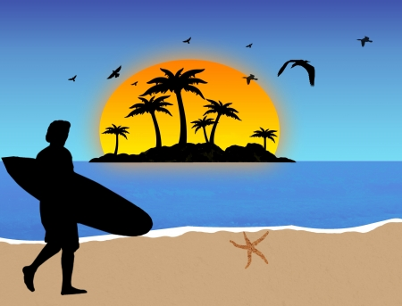 Surfer on tropical beach background, vector illustration Stock Vector - 13862294