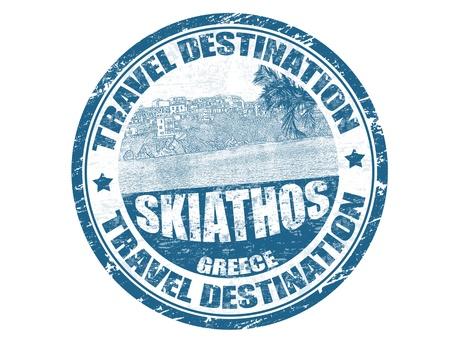 skiathos: Grunge rubber stamp with the text travel destination Skiathos inside, vector illustration Illustration