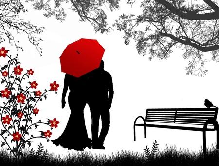 curare teneramente: Veduta di coppia un ritorno sotto l'ombrello rosso, cammina per il parco