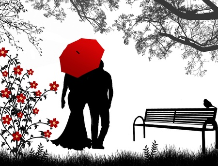 intimate: View of couple a back under red umbrella, walking down the park