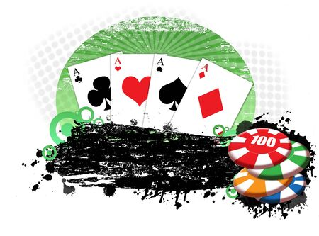 grunge background with four aces playing cards and chips Vector
