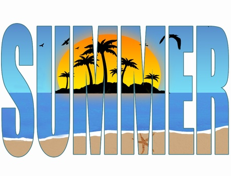 Summer title with a tropical scene in the background Vector