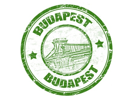 Green grunge rubber stamp with Chain bridge shape and the name of Budapest the capital of Hungary written inside Vector