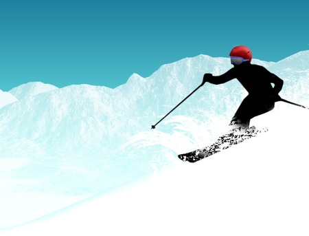 skier silhouette on the  mountains Vector