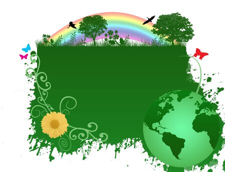 Green earth background with trees, flowers, birds and butterflies Vector