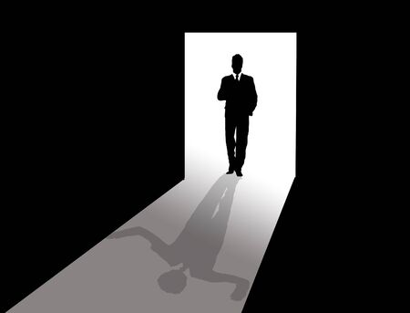 shadow man: Business man at the door and in this shadow standing with raised arms