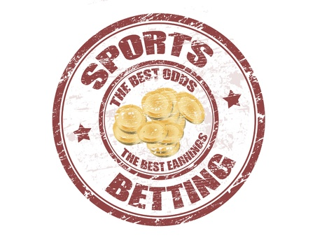 Grunge rubber stamp with the coins shape and the text sports betting written inside the stamp Vector