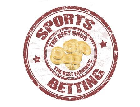 Grunge Stempel mit dem Münzen Form und den Text Sportwetten innerhalb der Briefmarke geschrieben