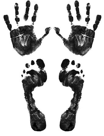 empreinte de main: Mains et pieds imprimer isol� sur blanc