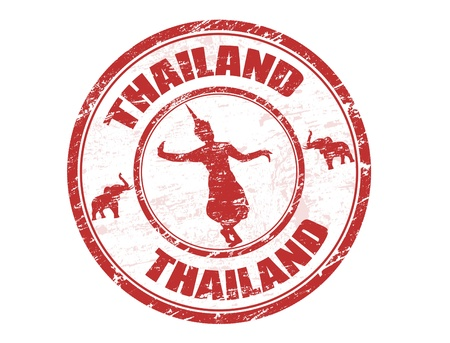 asian culture: Grunge rubber stamp with silhouette of traditional Thai dancerand the name of Thailand written inside the stamp