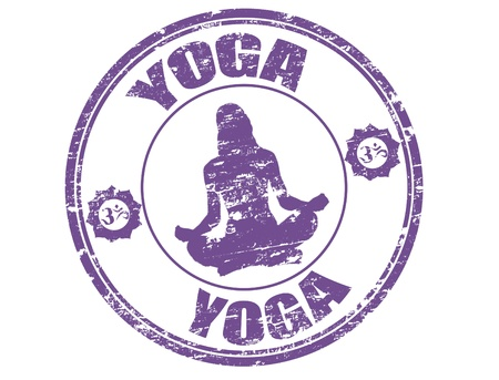 peace stamp: Grunge rubber stamp with woman silhouette practicing Yoga, hinduism symbols and the word Yoga written inside the stamp Illustration