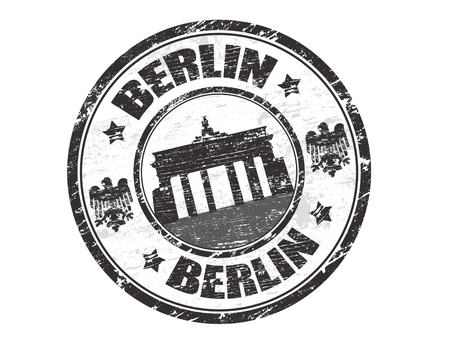 brandenburg gate: Grunge rubber stamp with the name of the capital of Germany, Berlin - written inside the stamp Illustration