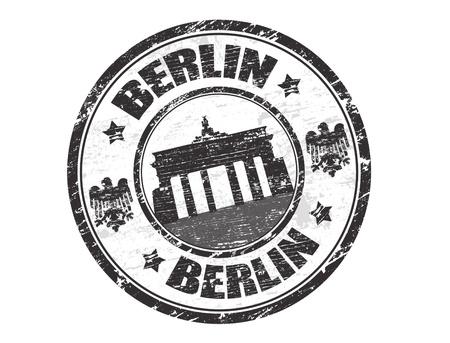 Grunge rubber stempel met de naam van de hoofdstad van Duitsland, Berlijn - geschreven binnen de stempel
