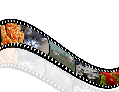 negative spaces: 3D film strip with nice pictures and reflection Stock Photo