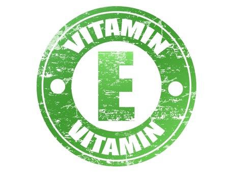 La vitamine E étiquette en effet grunge timbre en caoutchouc