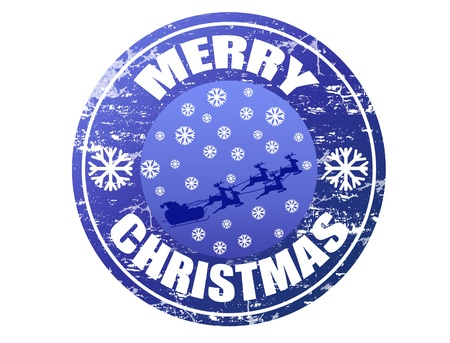 Blue grunge rubber stamp with Flying Santa, snowflakes and the text Merry Christmas written inside the stamp Vector