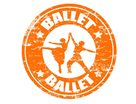 performing: Ballet grunge rubber stamp Illustration
