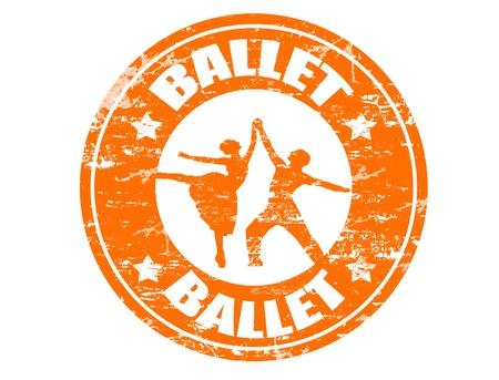 lyrical dance: Ballet grunge rubber stamp Illustration