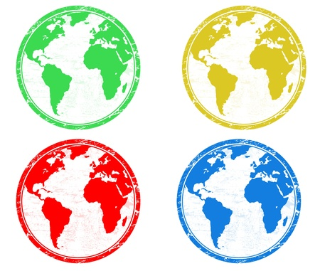 environment geography: Stamps with colored earth globes over white Illustration