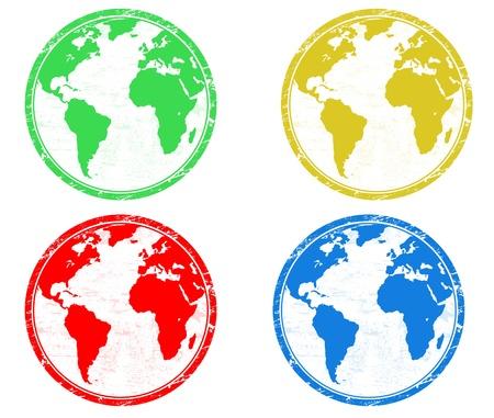 logo voyage: Timbres avec globes terrestres colorés sur fond blanc Illustration