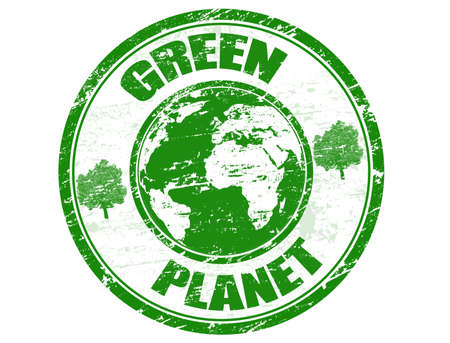 Green grunge rubber stamp with the text green planet written inside Vector