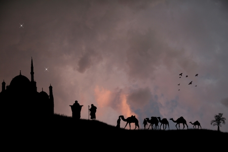 Arabian sunset with bedouins and camels Vector