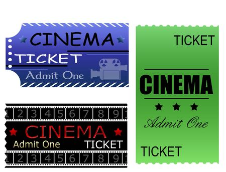 cinema ticket: Colorful illustration with cinema tickets made in various styles Illustration