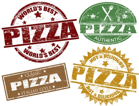 pizzeria label: Juego de sellos de goma del grunge con la pizza palabra escrita en el interior Vectores