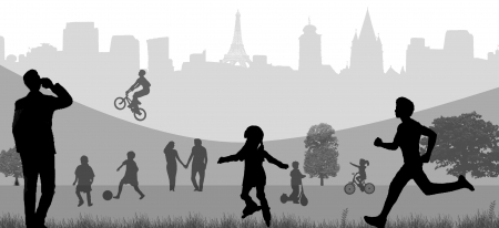 Background illustration with people in the park on black and white Vector