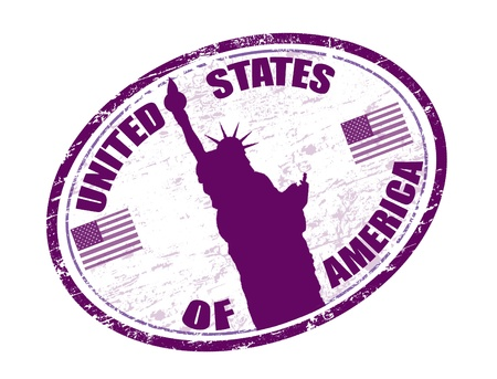 lila: grunge rubber stamp with liberty statue, U S  flags and the name of United States of America written in the stamp