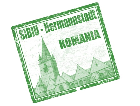 clock tower: Green grunge rubber stamp with the building of tower gothic lutheran church Sibiu Transylvania Romania and the text sibiu hermannstadt written inside the stamp Illustration