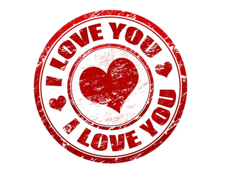 Red grunge rubber stamp with red heart and the text i love you written inside the stamp