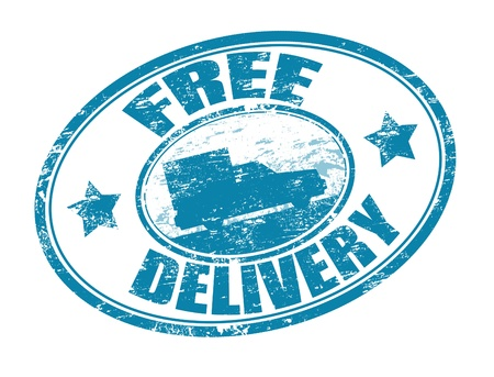 Blue grunge rubber stamp with a delivery car in the middle and the text free delivery written around the stamp Vector