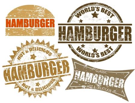 Juego de sellos de goma del grunge con la hamburguesa palabra escrita en el interior, ilustración vectorial Ilustración de vector
